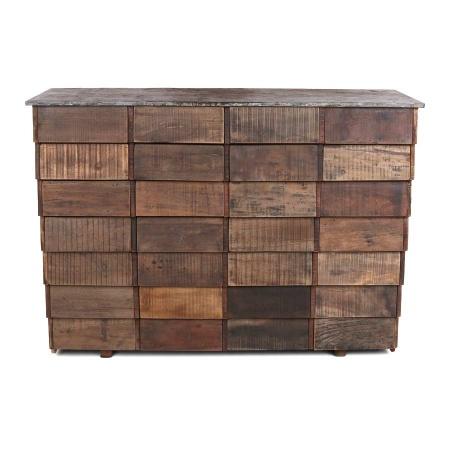 Holz Kommode Vintage gebürstet mit 28 Schubladen ohne Griffe