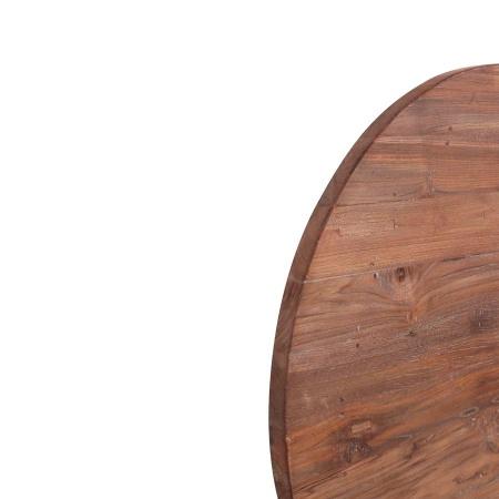 Holz Tischplatte Teak Lea rustikal rund 90 cm