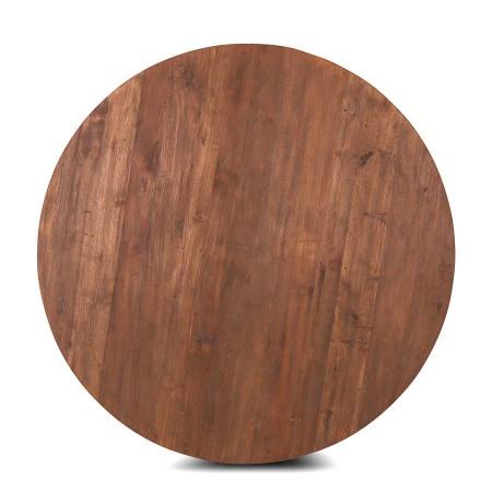 Teak Holz Tischplatte Lea rustikal rund 130 cm