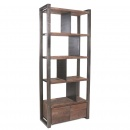 Bücher Regal massiv altes Teak mit Metall Hevy 215 cm