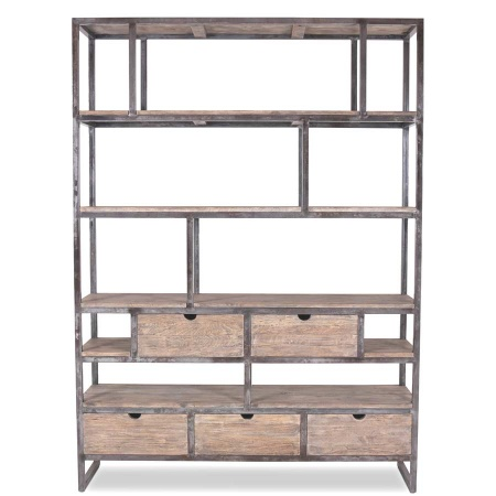 Bücherregal industrial Eris Massivholz Metall 160 cm