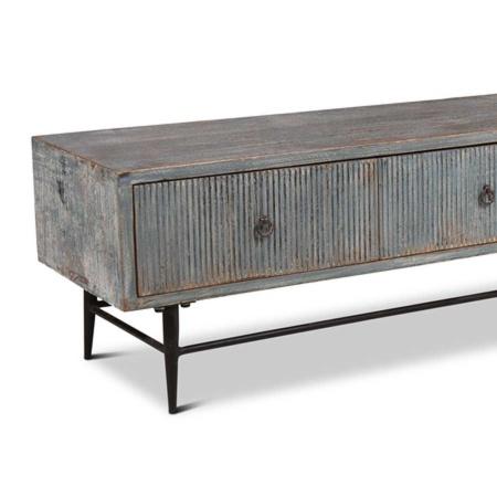 Holz TV Board Bluey Shabby Chic blau 200 cm