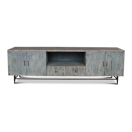 Holz TV Board Bluey Shabby Chic blau 60 cm hoch