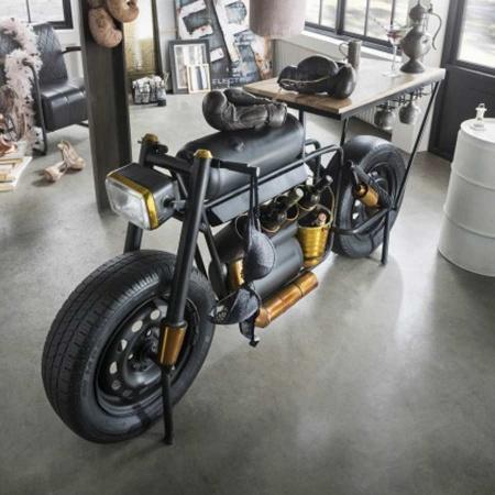 Design Motorrad Bar Tisch mit Flaschenkuebel