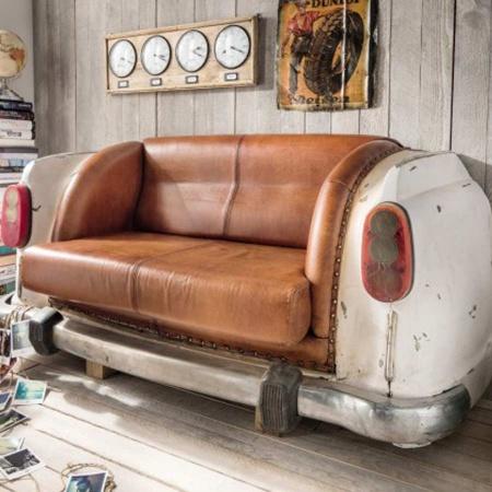Sofa Shabby Auto Heck Vintage Leder