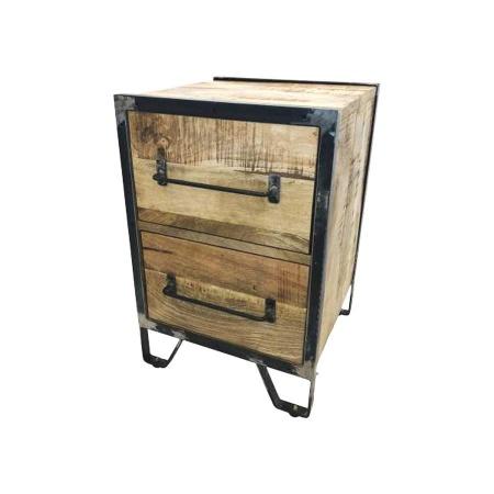 Nachttisch Holz 2 Schubladen Metallgestell Mary Kommode 40x40 cm
