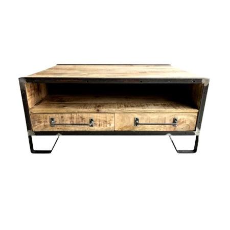 Couchtisch Holz industrial Mary Mango mit Schubladen