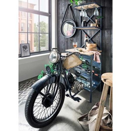 Motorrad Weinregal Bartresen mit Flaschen & Glashalter