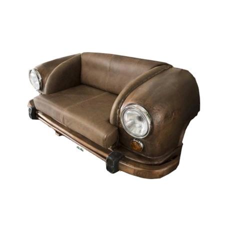 Sofa Vintage Leder braun in Autofront rostfarbig