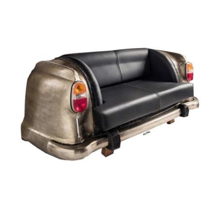Auto Couch Vintage Leder schwarz Heckteil 160 cm