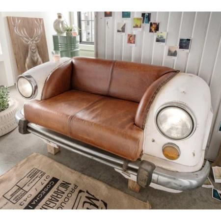 Couch Landhaus Stil weiss Vintage Leder Autofront
