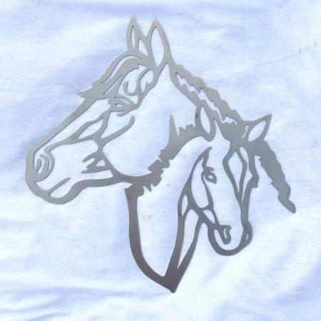 Edelstahl Pferdeköpfe Wanddeko Stute mit Fohlen