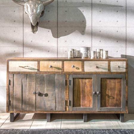 Holz Sideboard Vintage Multy 165 cm mehrfarbig