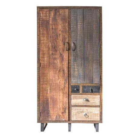Kleiderschrank Vintage Holz Multy 195 cm mehrfarbig
