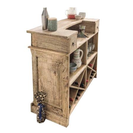 Barschrank Vintage Holz massiv Weinregal Tresen