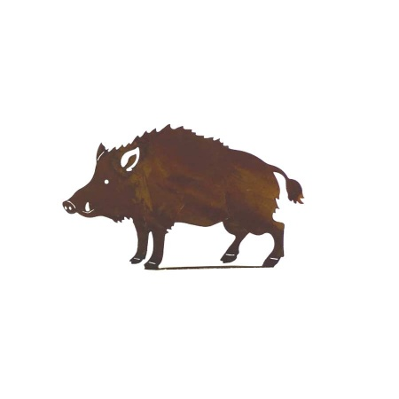 Basteldeko Wildschwein 100 mm Edelrost Metall