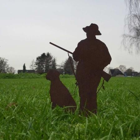 Figur Jäger mit Hund Metall Edelrost Deko