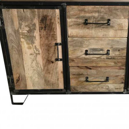 Industrial Sideboard Holz gebürstet Metall 150 cm