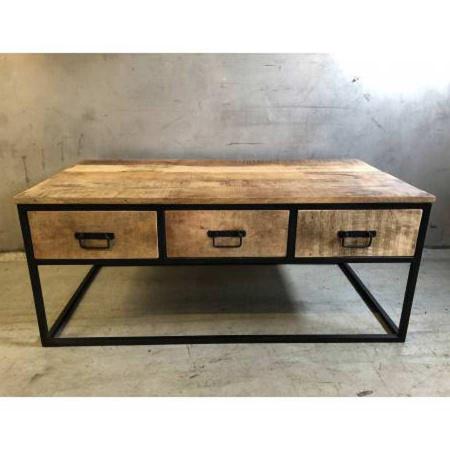 Vintage Couchtisch Holz Grovy 3 Schubladen