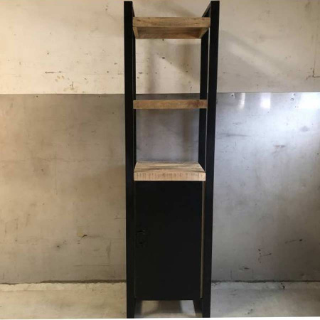 Regal Schrank industrial Holz schwarzes Metall Irok 200 cm