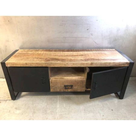 Industrial TV Board Holz Metall schwarz Irok 150 cm