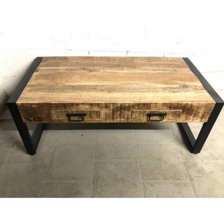 Couchtisch Holz Industrie Design 2 Schubladen 120x60 cm