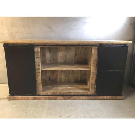 Holz Sideboard 6 Schubladen Schiebetüren industrial Irok190 cm