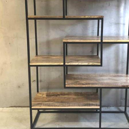 Industrial Raumteiler Bücher Regal Irok Holz Metallgestell 180 cm