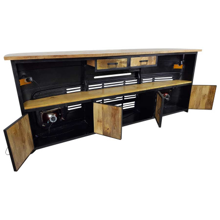 LKW Bar Raumteiler Landhausstil weiss Metall Holz 245 cm
