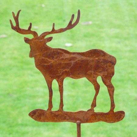 Hirsch Metall Gartendeko mit Bodenstecker 50 cm
