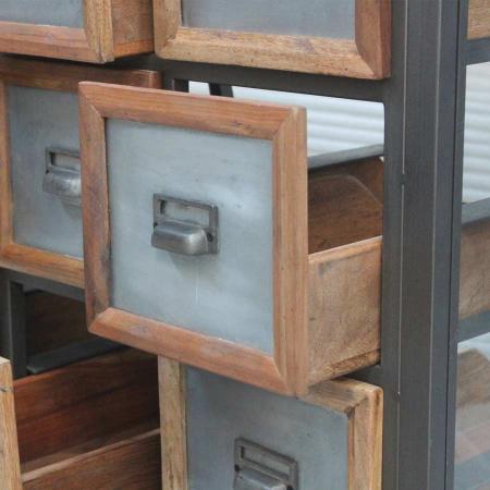 Vitrinen Kommode 12 Schubladen Teak Metall Vintage Pray 136 cm