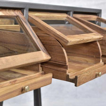 Industrial Präsentations Tisch Pray Glas 8 Schubladen Teak
