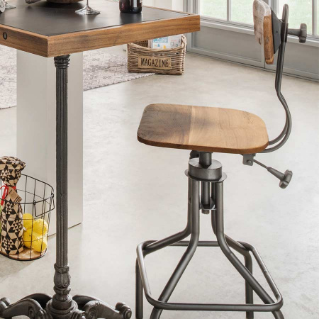 Barhocker industrial Style Teak Eisengestell Pray verstellbar