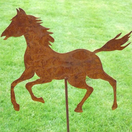 Pferd Metall Garten mit Bodenstecker 50 cm