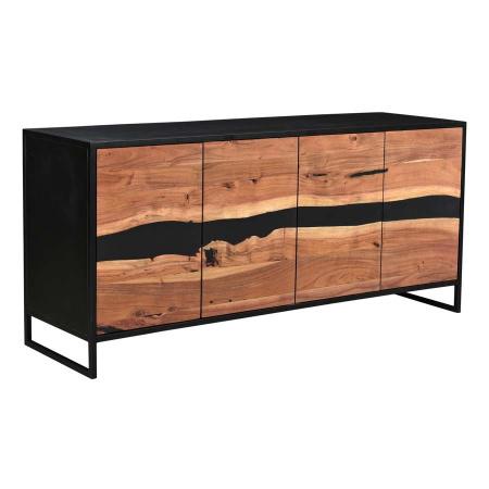 Epoxy Sideboard Holz Metall schwarz Epoxidharz 175 cm