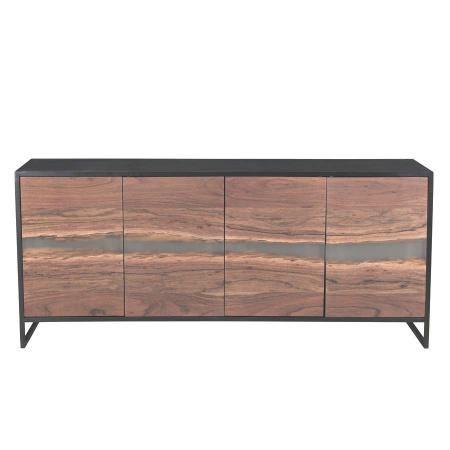 Epoxidharz Sideboard Akazie Metall schwarz 175 cm