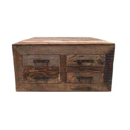 Multifunktion Couchtisch grobes Holz 4 Schubladen Klapptueren 90 cm