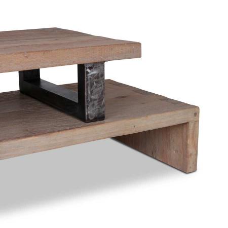TV Board Regal 2er Set verstellbar Teakholz Metall 100 cm