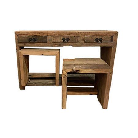 Sekretär Schreibtisch Anrichte mit 2 Hockern grobes Alt Holz