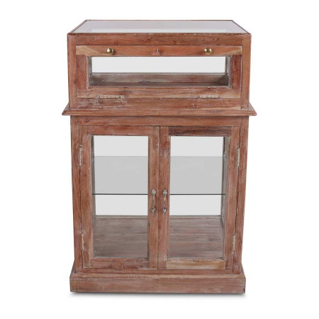Highboard Vitrine Vintage Holz Sideboard Glas Schaukasten 110 cm