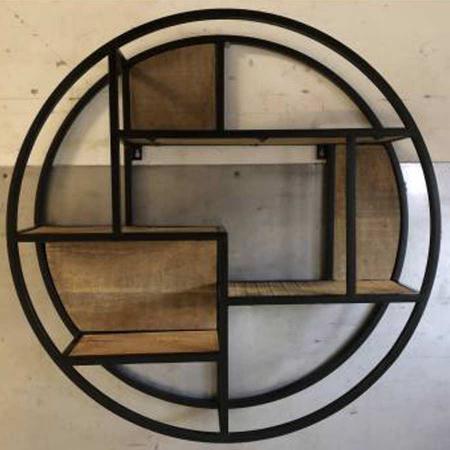 Holz Regal rund Vintage 80 cm Metallrahmen schwarz