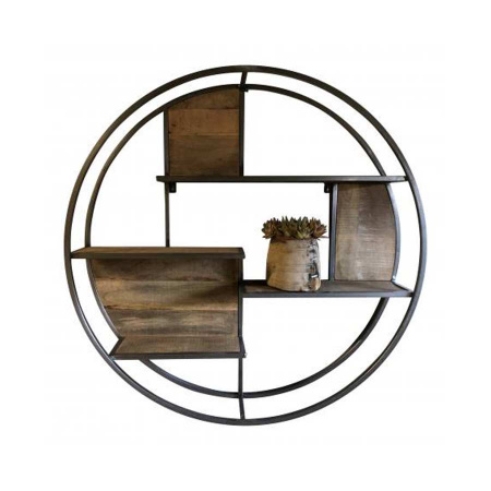 Vintage Holz Regal rund 80 cm Stahl Natur Rahmen