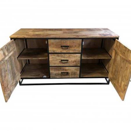 Industrial Sideboard Grovy massiv Holz Klapptüren 145 cm