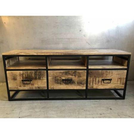 Industrial TV Board Grovy Holz Metall 140 cm
