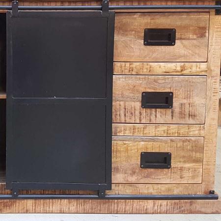 Sideboard Mangoholz industrial Metalltüren Irok 200 cm
