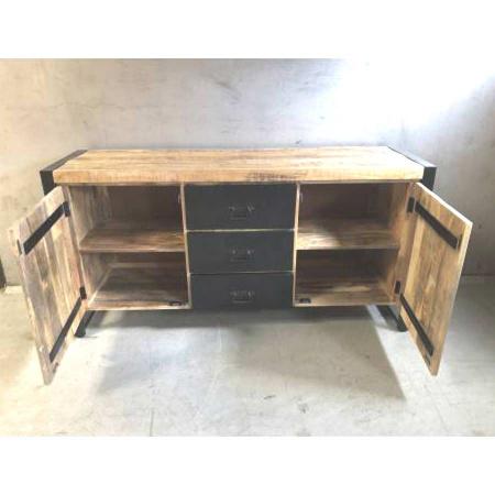 Holz Sideboard industrial Metall Schubladen Irok 160 cm