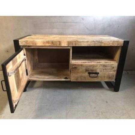 Industrial TV Board Irok Holz gebürstet Metall 105 cm