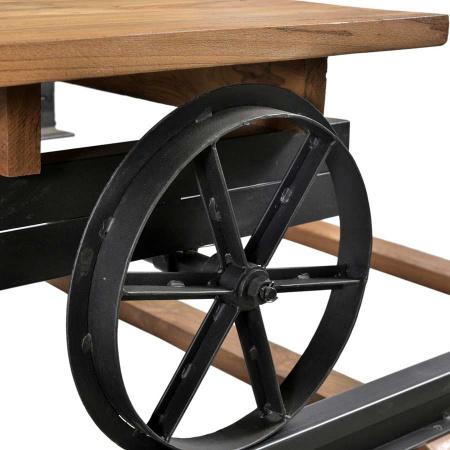 Couchtisch Teak Holz Waggon auf Eisen Schienen 200 cm