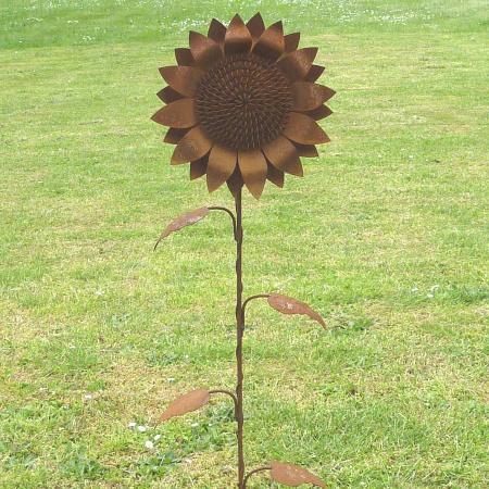 Sonnenblume Metall Gartenstecker Rost 30 cm Blüte