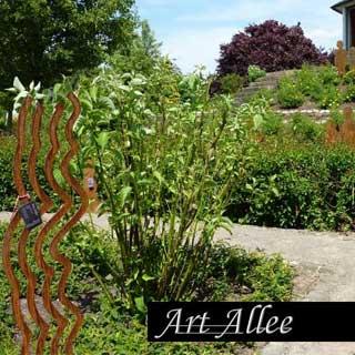 Metallobjekt Windharfe zur Gartendekoration